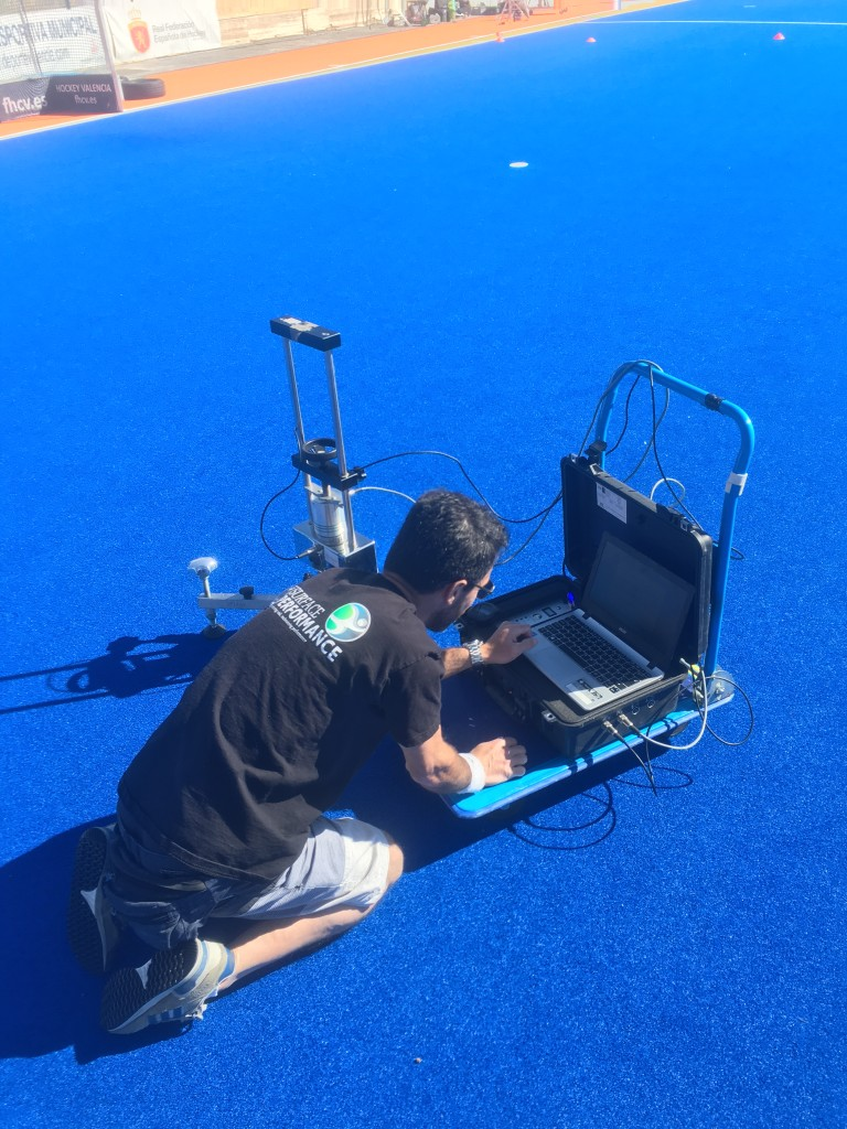 Shock absorption hockey pitch testing at The FIH Round Robin in Valencia