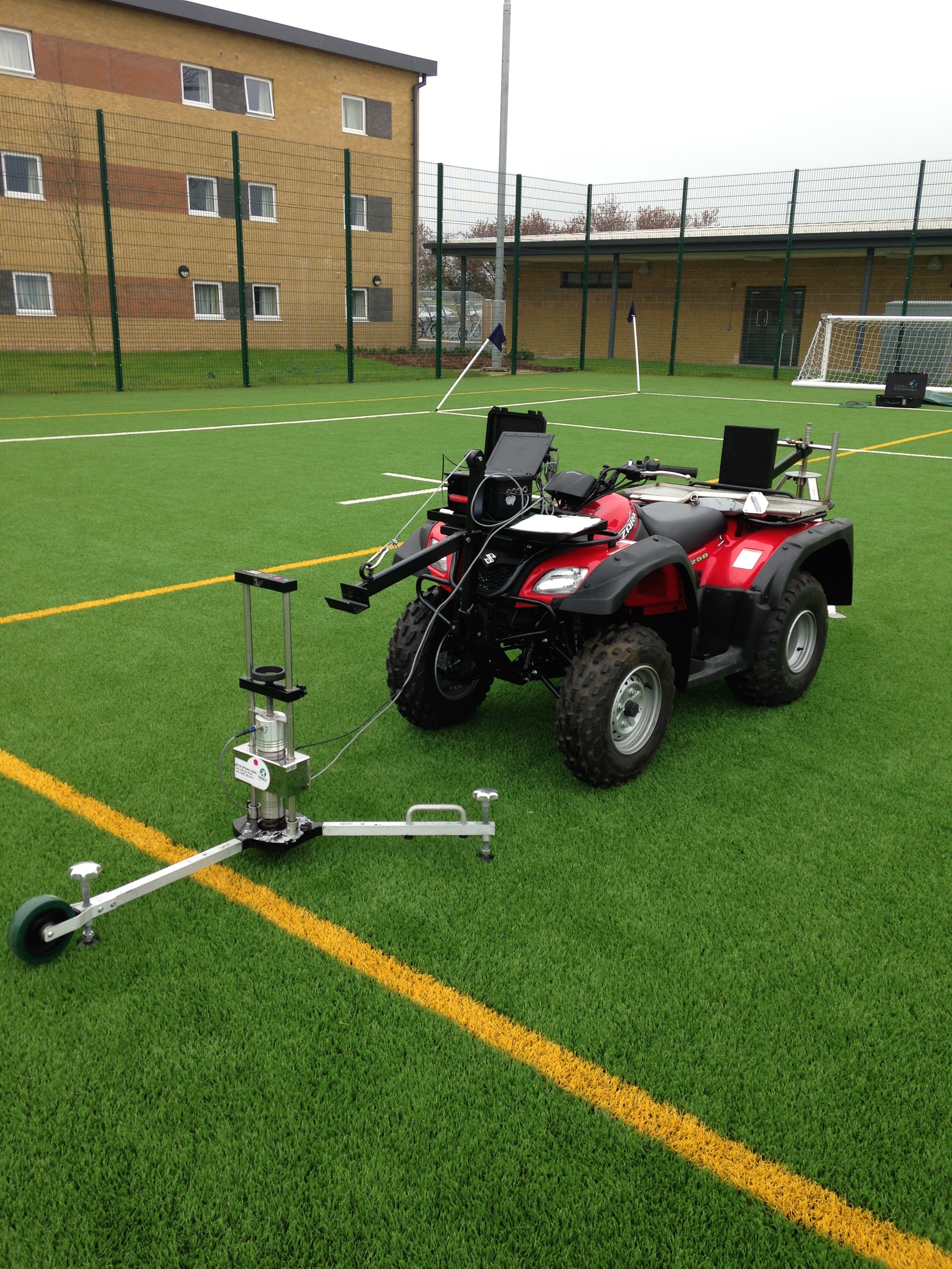 Surface Performance Ltd - quad bike custom made to carry official sports pitch testing equipment