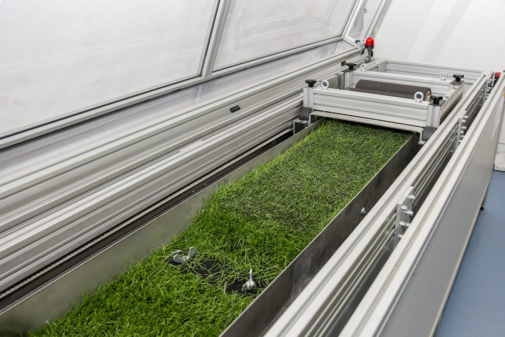The EN lisport machine is used to certify artificial grass products to EN standards. It is also the equipment used to simulate artificial wear when testing to the FIH Quality Programme